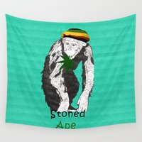 ape Wall Tapestries featuring Stoned Ape by Design4u Studio