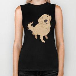 Golden Retriever Love Dog Illustrated Print Biker Tank