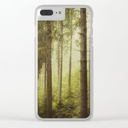 Fir Forest in Fog Clear iPhone Case
