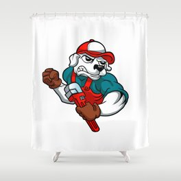 dog plumber holding a big wrench Shower Curtain