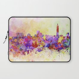 Taipei skyline in watercolor background Laptop Sleeve