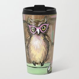 Owl the Librarian Travel Mug