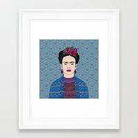 frida kahlo Framed Art Prints featuring Frida Kahlo by Bianca Green