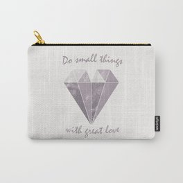 Do small things with great love - Purple & Beige Carry-All Pouch