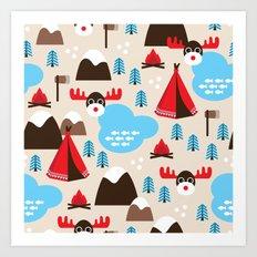 Scandinavian retro moose pattern Art Print