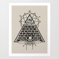 pyramid Art Prints featuring Pyramid by alesaenzart
