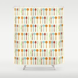 Kitchen Utensil Colored Silhouettes on Cream Shower Curtain