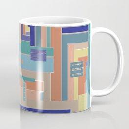 Sofa Soliloquy in navy blue teal terracotta gold geometrics Coffee Mug