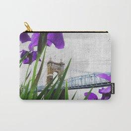 Roebling Suspension Bridge w Purple Iris Carry-All Pouch