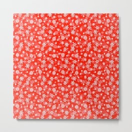 Festive Fiesta Red and White Christmas Holiday Snowflakes Metal Print