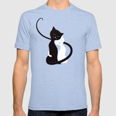 White And Black Cats In Love Mens Fitted Tee Tri-Blue X-LARGE
