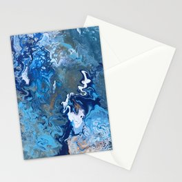 Undercurrent - Blue Wavy Ocean Abstract Fluid Art Stationery Cards