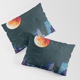 Blood Moon over Denver Colorado Skyline Pillow Sham