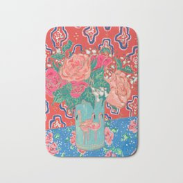 Roses in Enamel Flamingo Vase Bath Mat