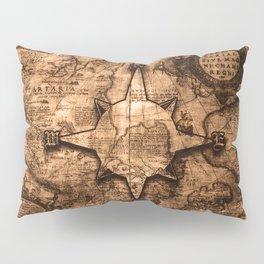 Antique World Map & Compass Rose Pillow Sham