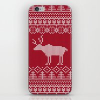 reindeer iPhone & iPod Skins featuring  Reindeer by Julia Badeeva