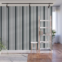 PPG Night Watch Pewter Green & White Wide & Narrow Vertical Lines Stripe Pattern Wall Mural
