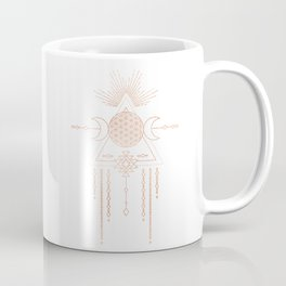 Mandala Flower of Life Moon Pink Rose Gold Coffee Mug