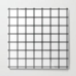 Minimalist Plaid Black And White Metal Print