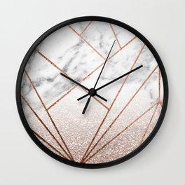 Rose glitter rising geo Wall Clock