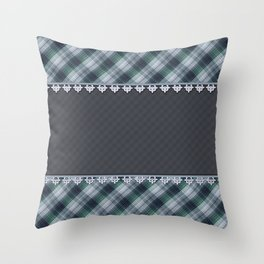 Blue plaid, plaid blanket, gray pattern, patchwork, folklore,  rustic style, elegant pattern, plaid Throw Pillow