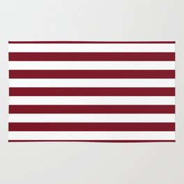 Deep Dark Red Pear and White Horizontal Beach Hut Stripe Rug