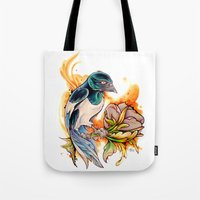 gemma Tote Bags featuring Magpie by Gemma Pallat by ToraSumi