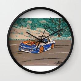 blue nissan 240sx Wall Clock