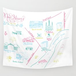 New Orleans, Louisiana Illustrated Calligraphy Map Wall Tapestry