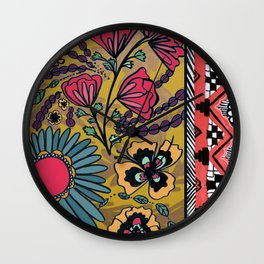 Yellow Floral Southwest Pattern  Wall Clock