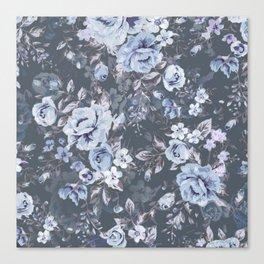 Blue FLORAL roses pattern Canvas Print