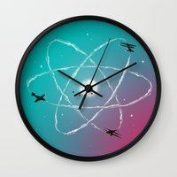 aviation Wall Clocks featuring Atomic Formation by nicebleed