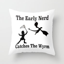 The Early Nerd Catches The Wyrm Silhouette Throw Pillow