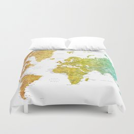 """Rainbow watercolor world map with cities """"Phoenix"""" - SIZES LARGE & XL ONLY Duvet Cover"""