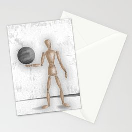Man With A Globe - Grey  Stationery Cards