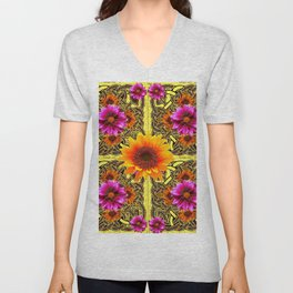 YELLOW SUNFLOWER PURPLE FLORAS CELTIC ART Unisex V-Neck