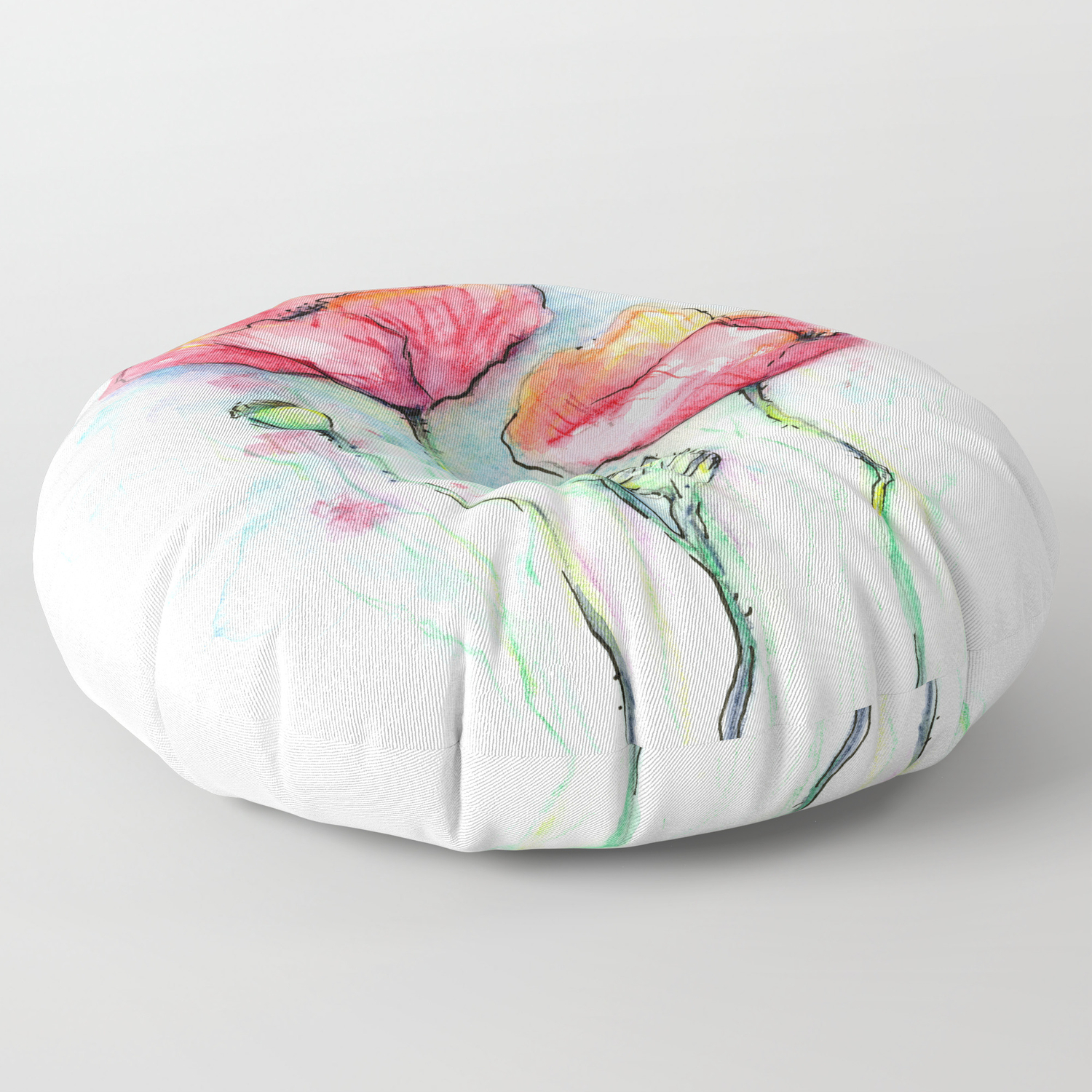 Poppies Watercolor Sketch Red Flowers Floor Pillow By Olechka Society6