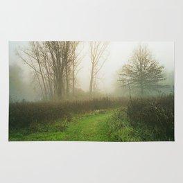 Beautiful Morning - Autumn Field in Fog Rug