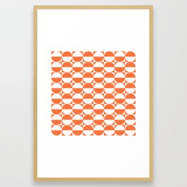 Mid Century Modern Half Circles Pattern Orange Framed Art Print