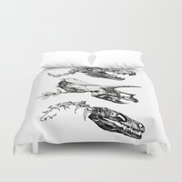 trex Duvet Covers featuring Jurassic Bloom. by Sinpiggyhead