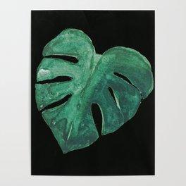 Monstera Leaf on Black Poster