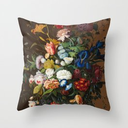 Flower Still Life with Bird's Nest, 1853 Throw Pillow