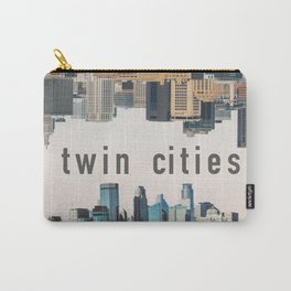 Twin Cities Minneapolis and Saint Paul Minnesota Skylines Carry-All Pouch
