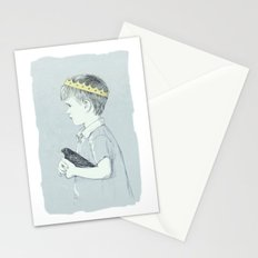 Boy and bird blue Stationery Cards