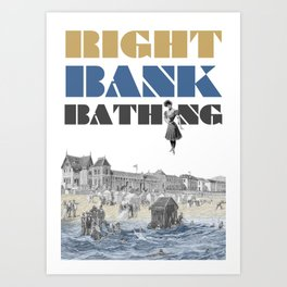 Right bank bathing Art Print