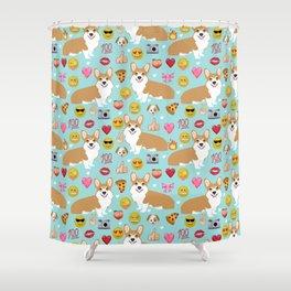 corgi emoji funny dog gifts emojis Shower Curtain