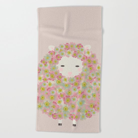 Flowery Sheep Beach Towel