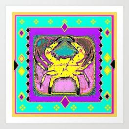 Yellow Crab Sea Life Turquoise-Purple Abstract Art Print