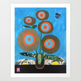 Blue Earth Flowers Art Print