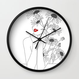 Minimal Line Art Girl with Sunflowers Wall Clock